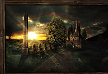 MB A Room with a View Artwork. Rainy Elvish Landscape with Castle, Statues, Sundown