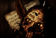 MB Apocalyptic Syndrome, The Letter. Dark Artwork with paper, feather, spiked skull and pentagram design