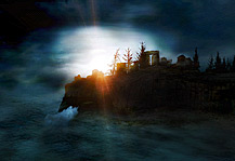 Away, artwork, waterscape with desolate island, sunrise, stormclouds