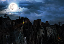 Dark fantasy city scene, caves, mountains, midnight moonlight, lighthouses and flames on the water, blue