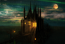 MB Wasteland. Dark fantasy Artwork gothic castle with the bridge, green aurora night sky with moon and cracked ground