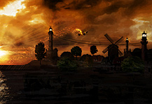 The Phoenix Artwork by ModBlackmoon, sundown, landscape and magic bird flying over the village