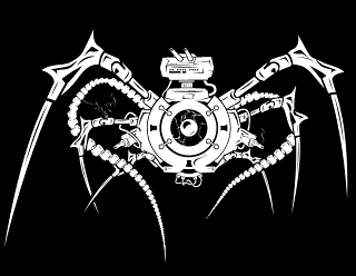 Brentomaton - Biomech Spider Insect with Tentacles and Orb Band Logo Design