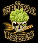 Metal brewery logo drawing - Evil Skull with hop cones, wheat and paddle