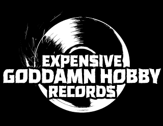 Expensive Goddamn Hobby Records - Metal Label Logo Design with Vinyl Illustration