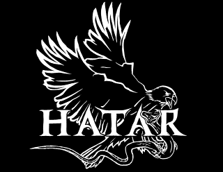Hatar - Legible Death Metal, Metalcore band logo design with hawk and snake illustration