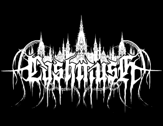 Lashmush Raw Black Metal BandLogo Drawing with evil fantasy Castle shape