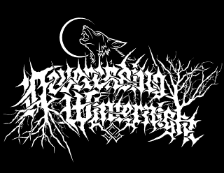 Neverending Winternight - Art Pagan Black Metal Logo Design with howling wolf and trees