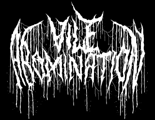 Vile Abomination - Brutal Death Metal Logo Design with Dripping Blood and Veins