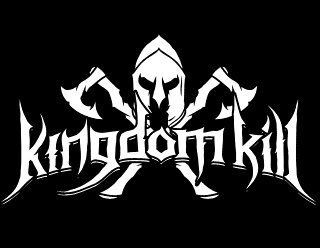 Kingdom Kill - Viking Metal Band Logo Design with Helmet and Horns