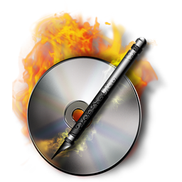 DVD, CD, Blu-Ray Disc Burn in Flames, Data Burning Royalty-Free Stock Icon Image