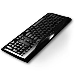 Keyboard on transparent background, Free PNG Icon 256px Clipart, Black, Chrome, Computer
