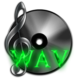 WAV Uncompressed Audio File Royalty-Free 256px Dark Icon with Green Neon for Design