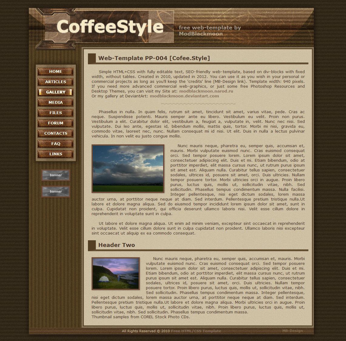 Brown Html Templates ModBlackmoon | Free Dark Grunge HTML+CSS Web Template Designs