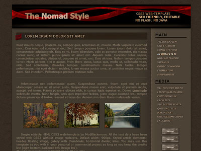 The Nomad - Brown Grunge free Web-Template with red gradient lines