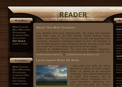 MB Reader - Free Wood Planks and black glass Web-Template
