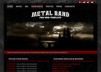 Free Dark Grunge Rock and Metal Band Web-Template Design
