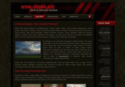 New Wave - Free Cool Grunge Dark Green and Red HTML CSS Web Template