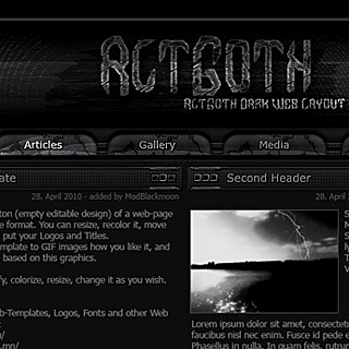Dark dirty Black Gothic Web-Template Preview