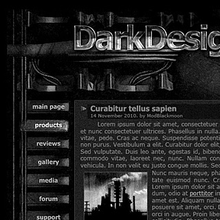 Dark gothic and grunge Site Design with panels, wires and mechanisms. Moving buttons make it looks like industrial 3d web-design