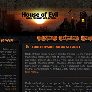 MB House of Evil - Halloween, Dark Gothic, Demonic Web-Tempalte for Sale