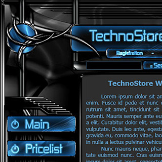 Dark futuristic web-design with black and chrome elements