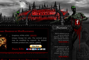 Horror, Graveyard web-design with skeletons and zombies, moon and skulls